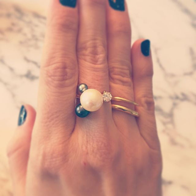 Wrap Ring with Floating Pearl