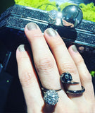SAMPLE SALE - Wrap ring with floating spiked pearl - AMANDA PEARL