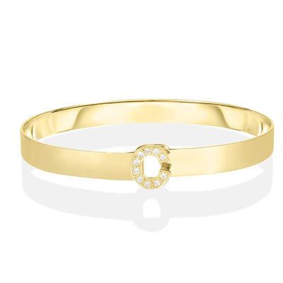 14K Diamond Letter Bangle