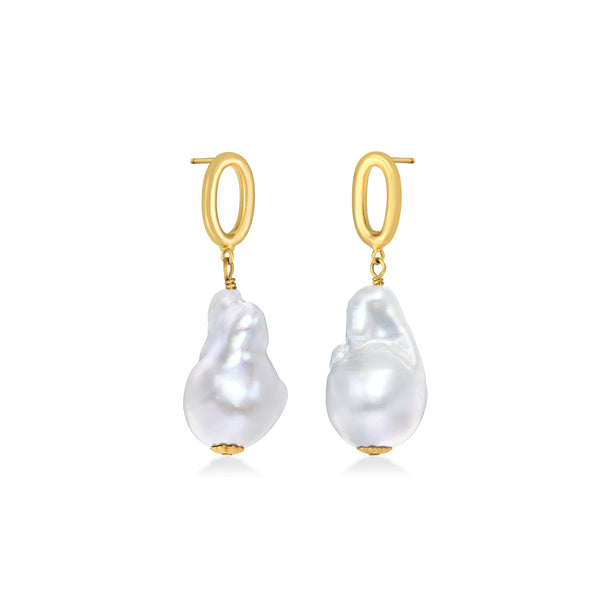 Link with Baroque Pearl Drop Earrings - AMANDA PEARL