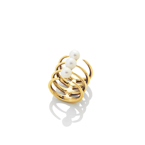 Quad Quill Ring with Pearls - AMANDA PEARL