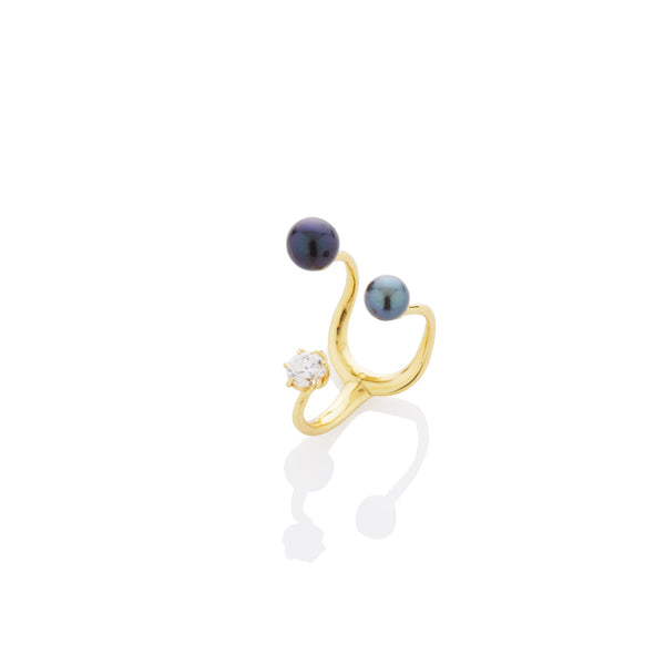 SAMPLE SALE - Floating Pearls & Stone Ring - AMANDA PEARL