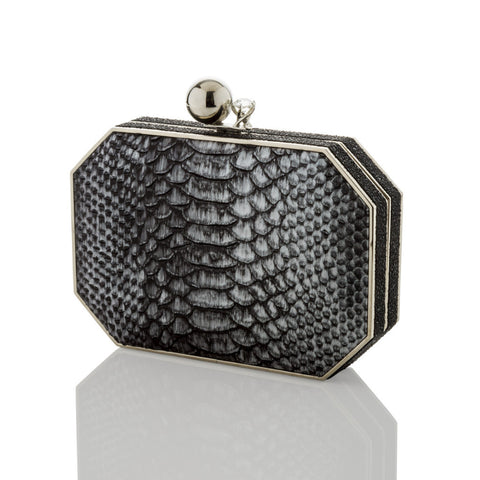 Gunmetal Embossed Leather - AMANDA PEARL