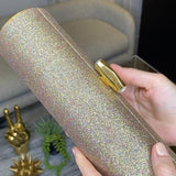 Loren: Vintage Gold Micro-Sparkle Roll Clutch - AMANDA PEARL
