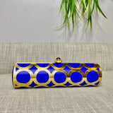 Cobalt Leather Alessia Clutch - AMANDA PEARL