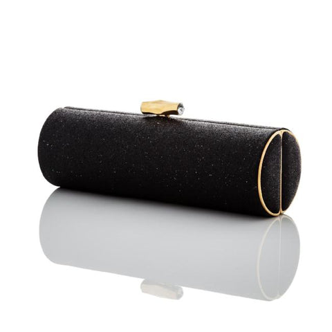 Bow: Black Micro-Sparkle Roll Clutch - AMANDA PEARL