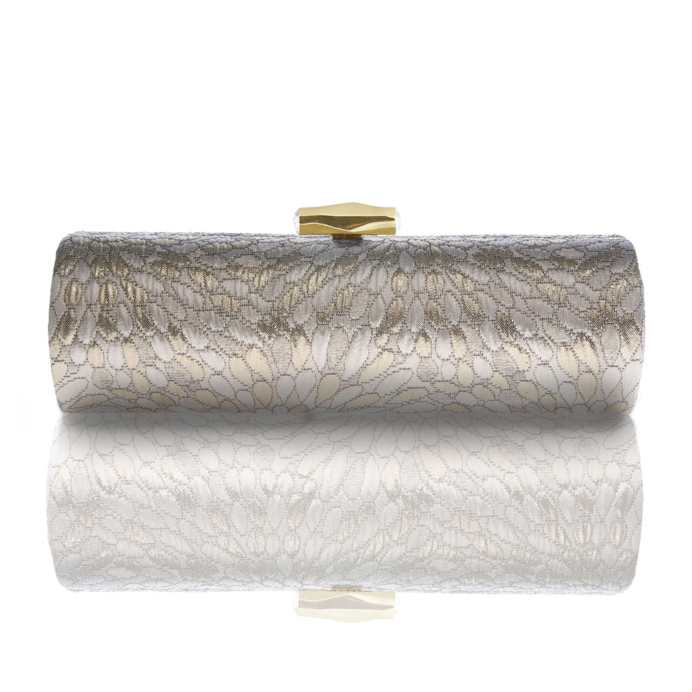 INDIRA: Gold Brocade Roll Clutch - AMANDA PEARL