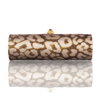 Leopard Jacquard Roll Clutch with Tiger Eye