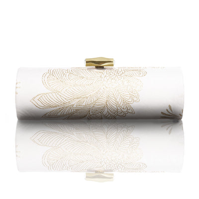 White & Gold Palms Roll Clutch
