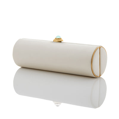 PEARL: Ivory Duchess Roll Clutch - Gold Frame