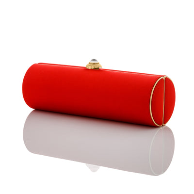 Dianne: Tomato Red Duchess Roll Clutch