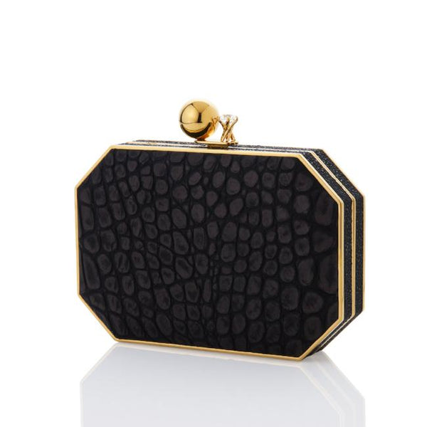 BLACK EMBOSSED LEATHER OCTO CLUTCH - AMANDA PEARL