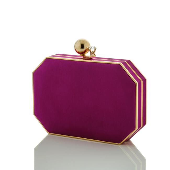 Courtney: Aubergine Duchess Octo Clutch - AMANDA PEARL