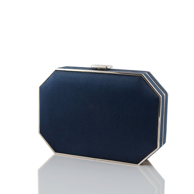 Navy Duchess Octo Clutch - Silver