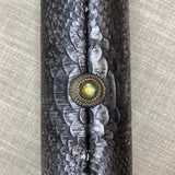 Gunmetal Embossed Leather Roll Clutch - AMANDA PEARL