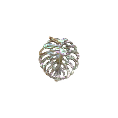 14K Monstera Charm - Black Lip