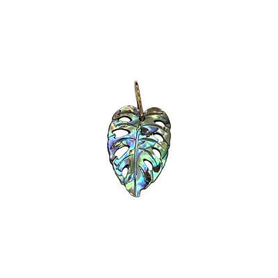 14K Monstera Charm - Paua