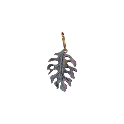 14K Tropical Leaf Charm - Black Lip