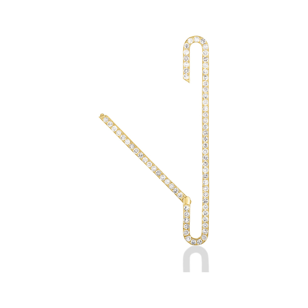 14K Long Pavé Charm Lock