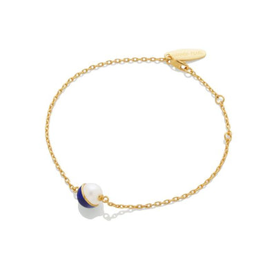 SAMPLE SALE - Enamel/Pearl Chain Bracelet - Cobalt