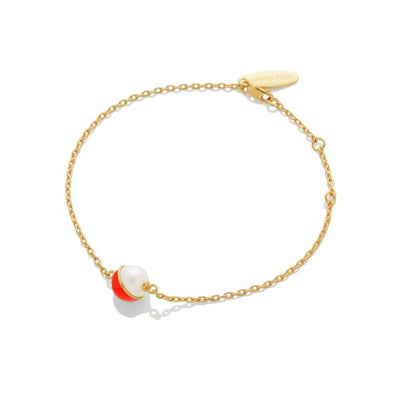 Enamel/Pearl Chain Bracelet - Fire Red
