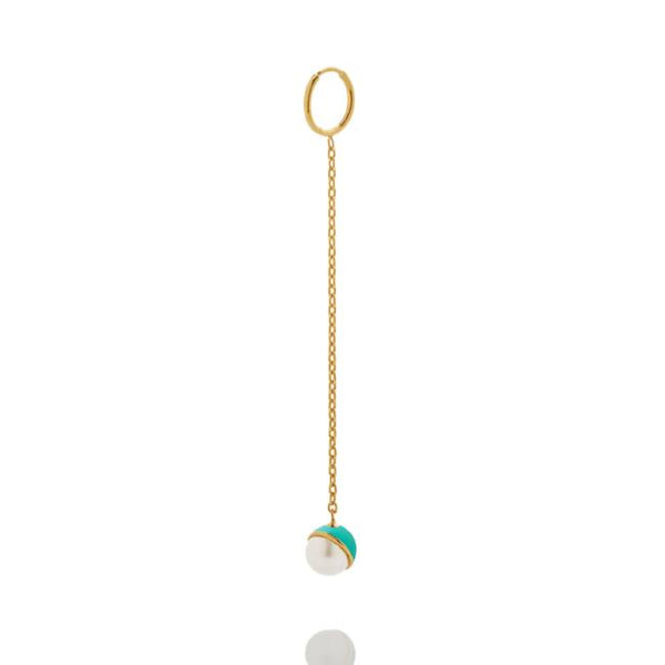 SAMPLE SALE - Enamel/Pearl Drop Earring - Emerald - AMANDA PEARL