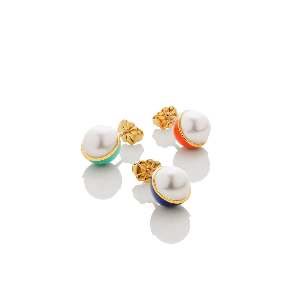 Enamel/Pearl Stud Earring - Fire Red - AMANDA PEARL - elegantly edgy accessories