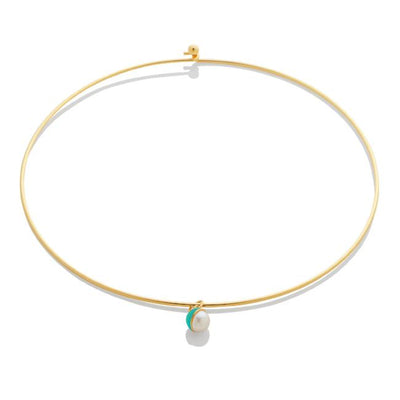 SAMPLE SALE - Enamel/Pearl Choker - Emerald