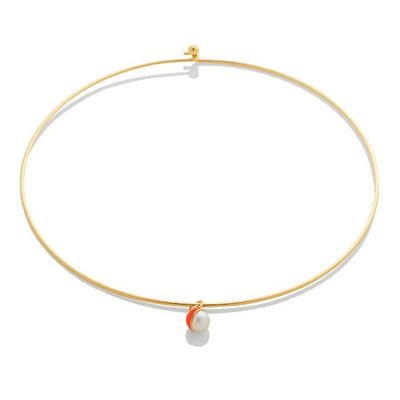SAMPLE SALE - Enamel/Pearl Choker - Fire Red