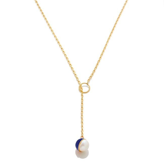 Enamel/Pearl Lariat Necklace - Cobalt - AMANDA PEARL - elegantly edgy accessories