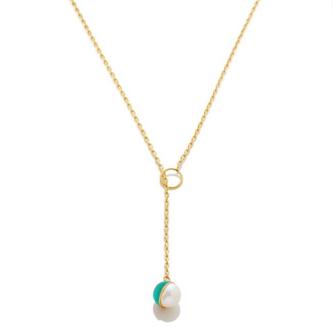 Enamel/Pearl Lariat Necklace - Emerald - AMANDA PEARL - elegantly edgy accessories