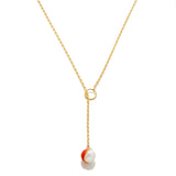 Enamel/Pearl Lariat Necklace - Fire Red - AMANDA PEARL - elegantly edgy accessories