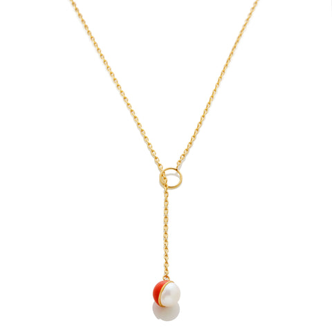 Enamel/Pearl Lariat Necklace - Fire Red