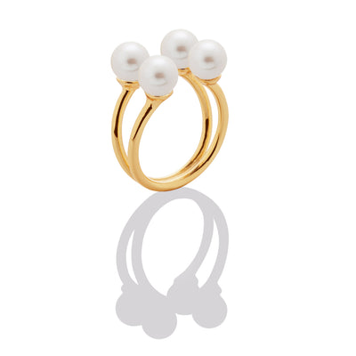 Floating Gems Pearl Ring