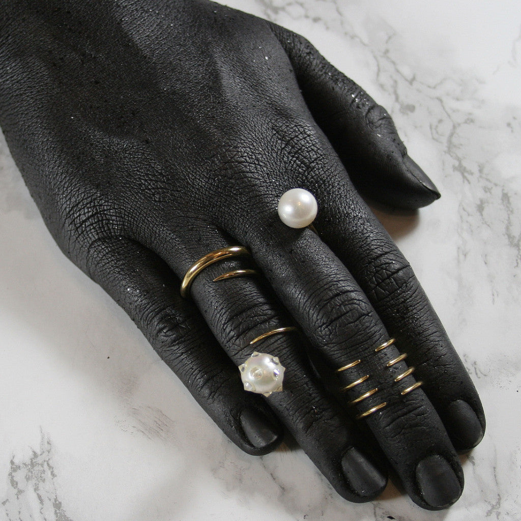 Wrap Ring with Floating Pearl - AMANDA PEARL