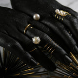 Spiked Pearl Bypass Ring