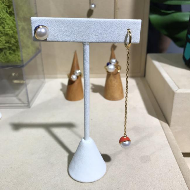 Enamel/Pearl Drop Earring - Fire Red - AMANDA PEARL - elegantly edgy accessories