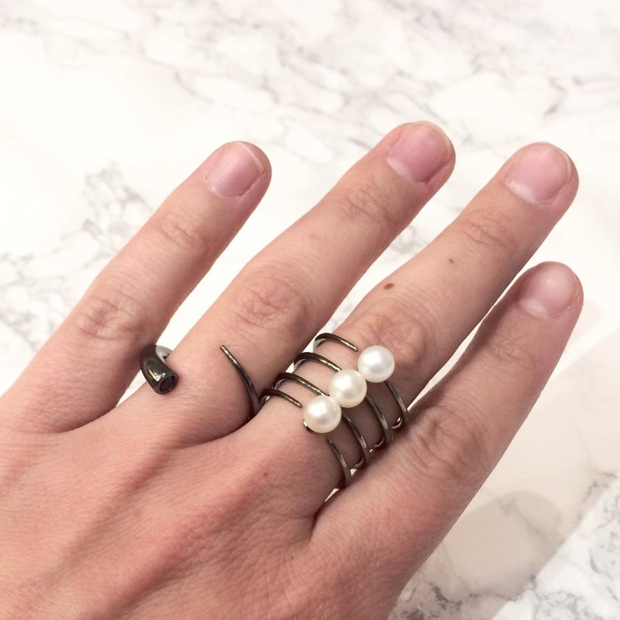 Quad Quill Ring with Pearls