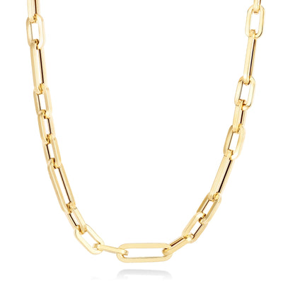 14K Ultra Chunky Irregular Paperclip Chain Necklace