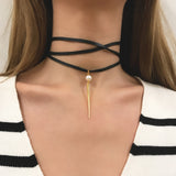 Sample Sale - WRAP LEATHER QUILL SPIKE CHOKER - White Pearl - AMANDA PEARL