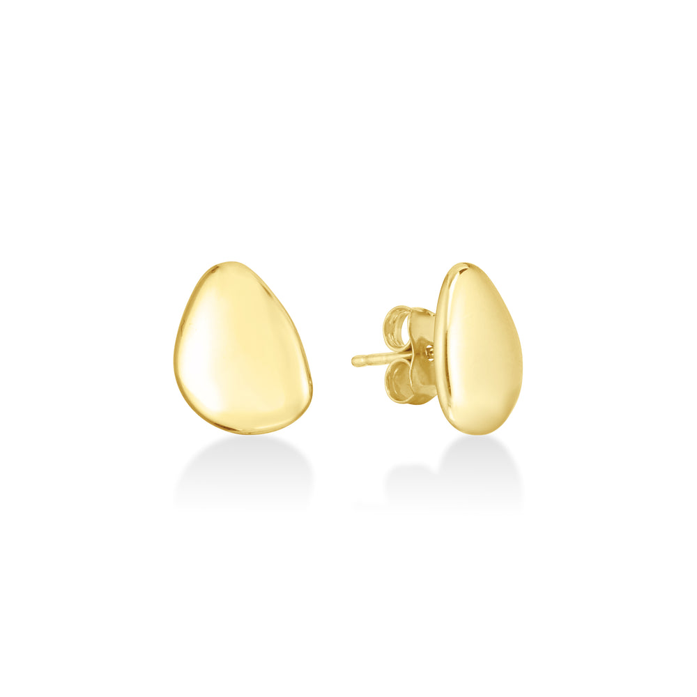 14K Gold Pebble Earrings - AMANDA PEARL