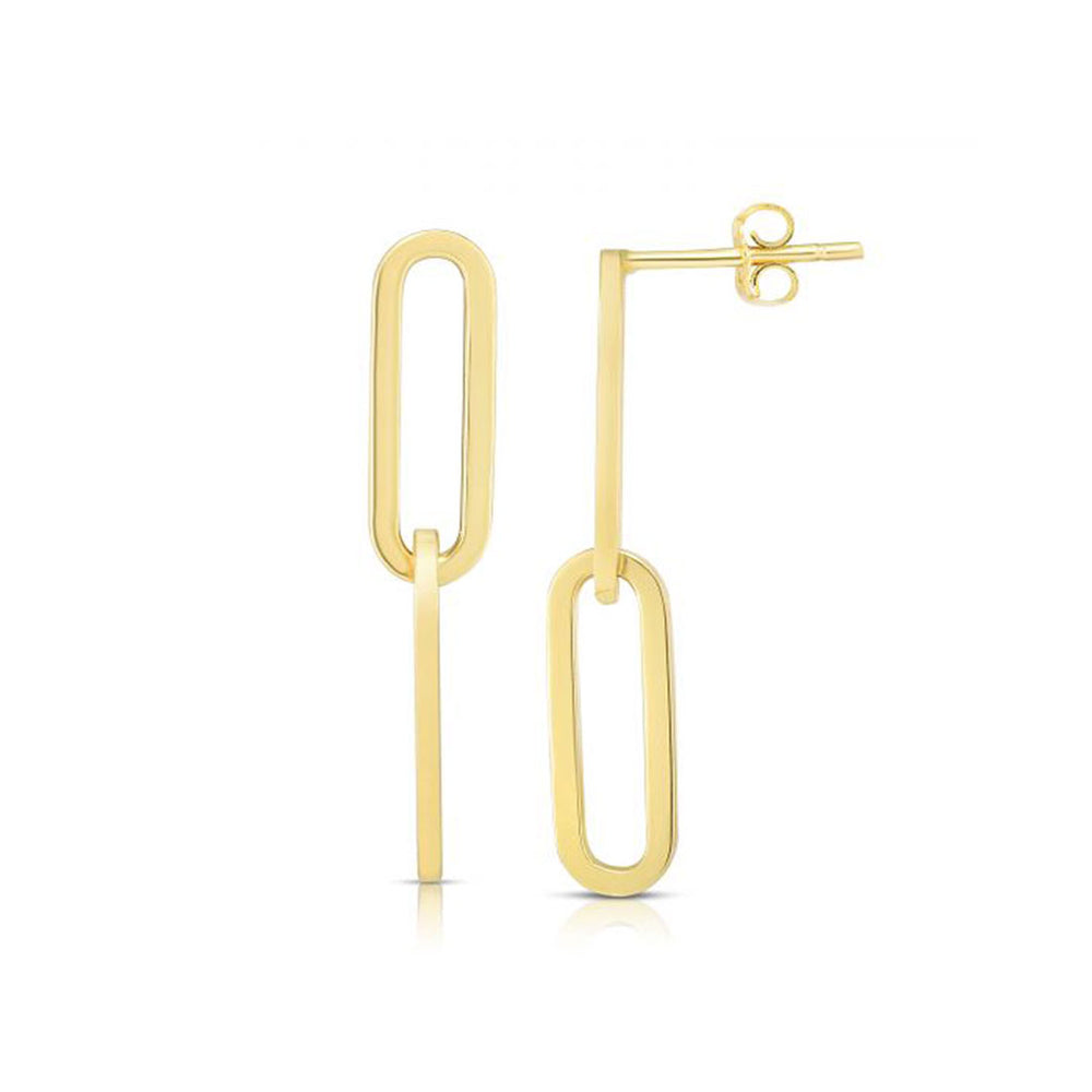 14k Paperclip Link Earrings - AMANDA PEARL