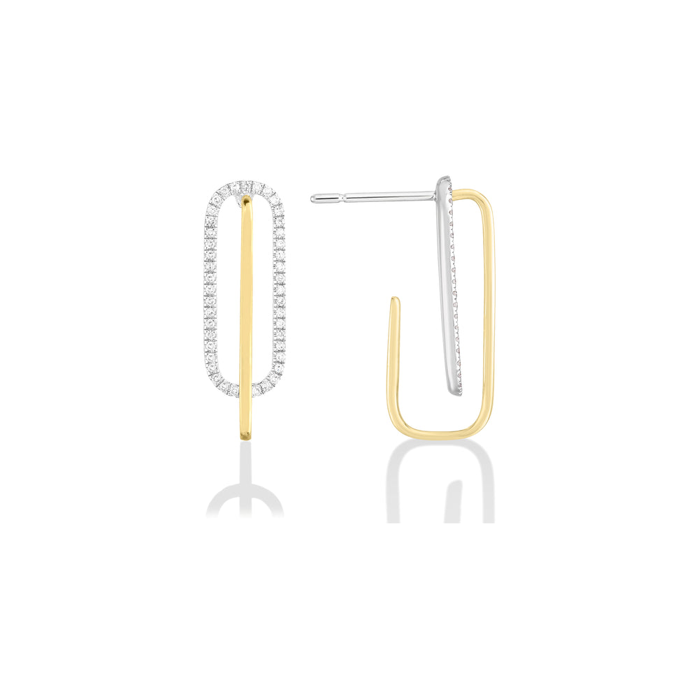 14K Pavé Paperclip Earrings