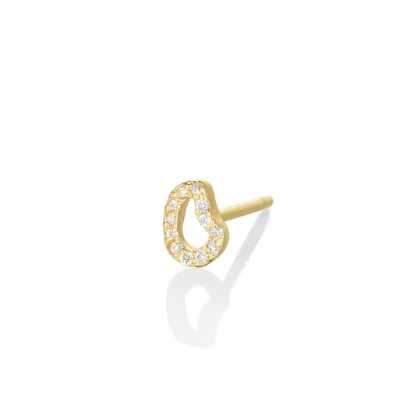 14K Small Ripple Stud Earring - Full Pavé - AMANDA PEARL