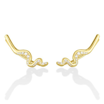 Large Ripple Climber Earring - Demi Pavé