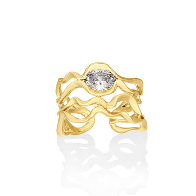 14K Diamond Foundry x AP Multi Ripple Ring with Diamond