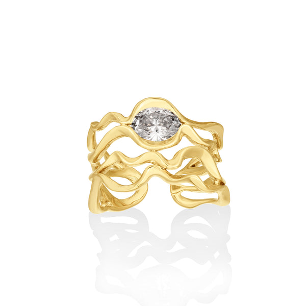 14K Multi Ripple Ring with Diamond - AMANDA PEARL