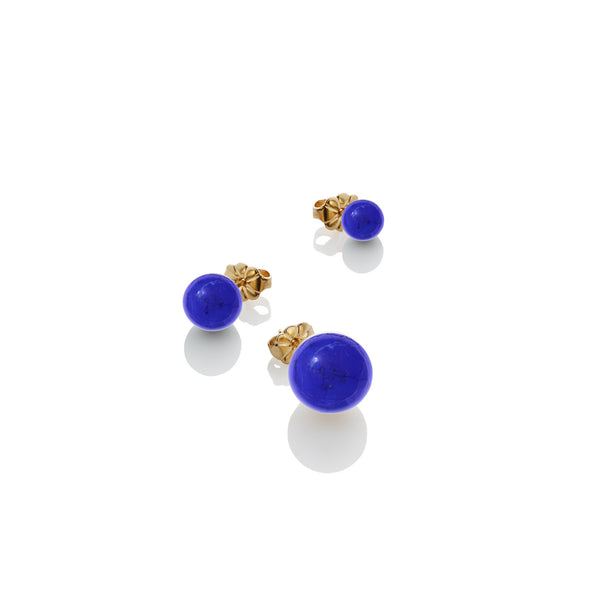 SAMPLE SALE - 8mm Lapis Stud Earring - AMANDA PEARL