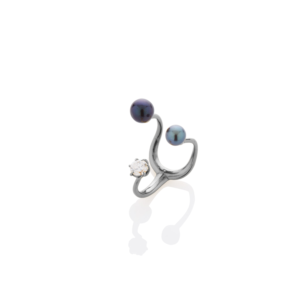 Floating Pearls & Stone Ring