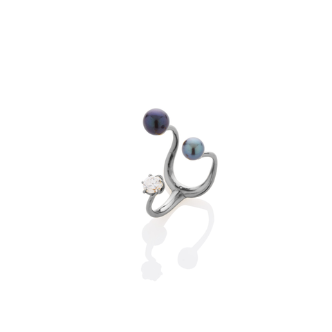 Floating Pearls & Stone Ring - AMANDA PEARL - elegantly edgy accessories